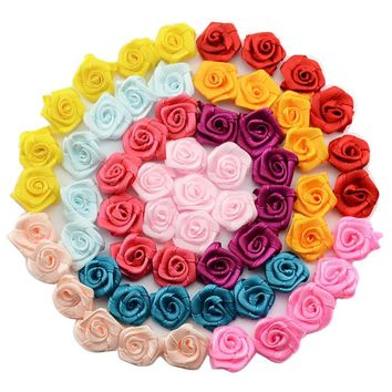 100pcs/lot 1.5cm Fashion Handmade Ribbon Rose Flower For Wedding Decoration  Free Shipping 1-35