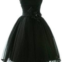 PrettyDresses Women's Black Sleeveless Short Prom Party Dresses with Bowknot