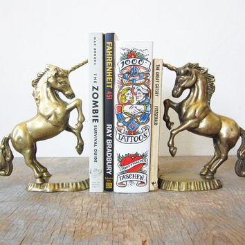 vintage brass unicorn bookends / solid brass bookends