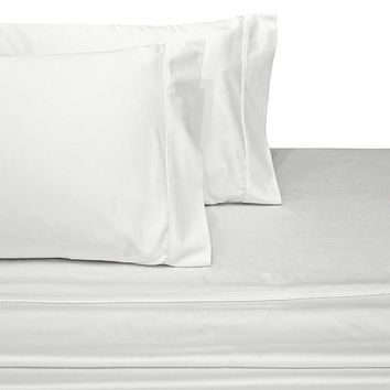 Olympic Queen WHITE 600 Thread count Solid 100% Combed cotton sheet sets