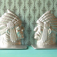 Cast Iron Native American Indian Bookends in Silver