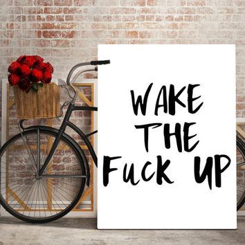 Wake Me Up,Bedroom Decor,Good Morning,Wake Up Quote,Bedroom Wall Art,Inspiring Quote,Morning,Black And White,Funny Poster