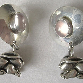 Sterling Bunny Rabbit Earrings Clip with Gemstone