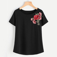Black Short Sleeve T shirt Women  Tops Casual Embroidered Floral O-neck harajuku Vogue tshirt Women #421 BL