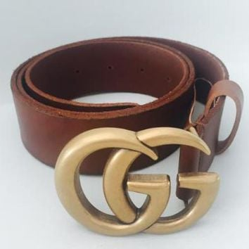 GUCCI Trending Women Men Double G Smooth Buckle Belt Leather Belt(6-Color) I