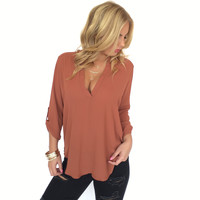 Delaney 3/4 Sleeve Blouse In Rust