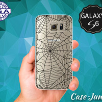 Black Spider Web Pattern Halloween Inspired Spooky Case for Clear Rubber Samsung Galaxy S6 Samsung Galaxy S6 Edge Galaxy S7 and S7 Edge