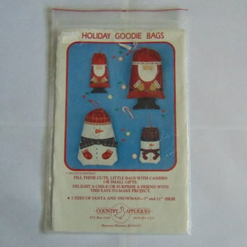 Holiday Christmas Goodie Bags Pattern by County Appliques