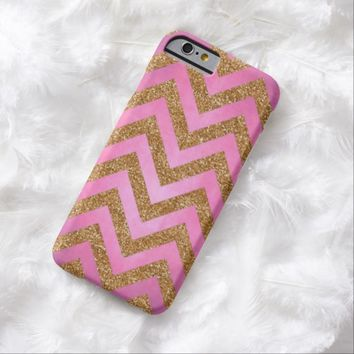 Faux Glitter Gold Zigzag Chevron Stripes Pattern Pastel Pink Grunge Background iPhone 6 Case