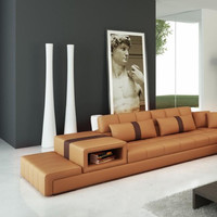Moderna Camel and Brown Bonded Leather Sectional Sofa