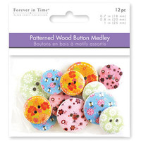 Wooden Buttons, Pattern Floral Button Embellishment,  Patterned Wood, sizes 18/20/25mm 12 per Pkg