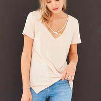 Project Social T Karlie Cross-Front Deep-V Tee - Urban Outfitters