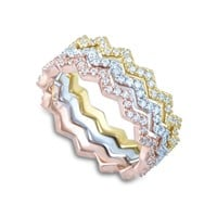 3 Piece Sterling Silver Tri Color Zig Zag Eternity Ring