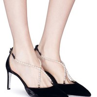 René Caovilla | Embellished cross strap velvet d'Orsay pumps | Women | Lane Crawford - Shop Designer Brands Online