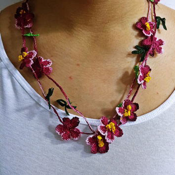 Pink Crochet Necklace Flower And Leaf From Sesimtaki On Etsy