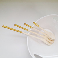 Gold Painted Wooden Spoons - Set of Four