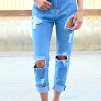 High Rise Boyfriend Jeans - Dark Wash
