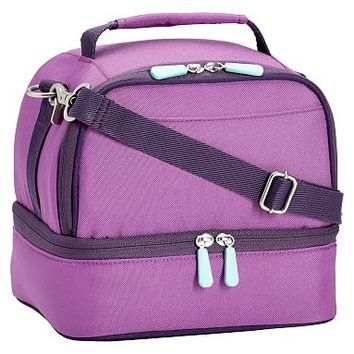 Gear-Up Light Purple Colorblock Dual Compartment Lunch Bag