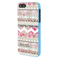 Girly Floral Tribal Andes Aztec iPhone 5 Case Framed Blue