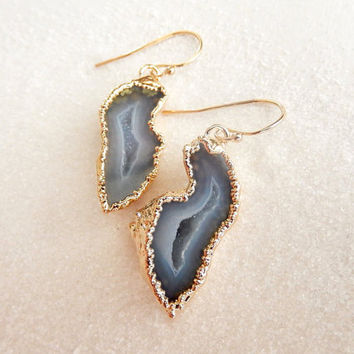 Cave Geode 24K Gold Earrings, Half Geode Dangle Stone Earrings, Boho Jewelry, Agate Druzy Rock Crystal Jewelry - Free Shipping Jewelry