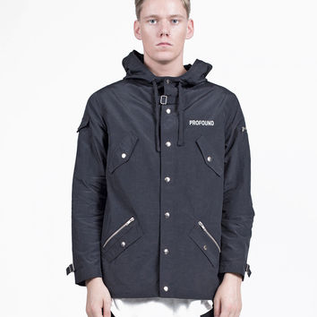 Fisher Pocket Rain Coat Parka in Black
