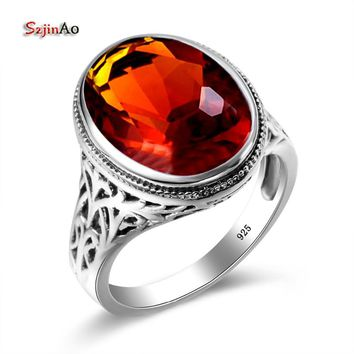 Szjinao 925 Silver Engagement Ring Brown Stone Bohemian Charm Slavic Islam Jewelry Big Rings Fun Gifts For Women Game of Throne