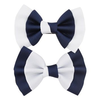"""6Pcs/lot 3"""" Small Cute Hair Bow Hairclips Patchwork Solid Boutique Grosgrain Ribbon Hairbows For Kid Girls Hair Accessories"""