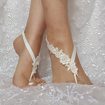 Bridal barefoot sandals ivory floral beach sandal barefoot lace shoe beach wedding free ship