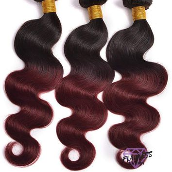 3 Bundles of Burgundy Ombre Brazilian Body Wave Hair Extensions