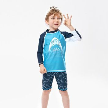 2 Two Piece Bikini Swimsuit Baby Boy Bikini Kids Children's Rash Guards Children 2018 New Suits Long Sleeve Boys Animal Polyester Sierra Surfer KO_21_2