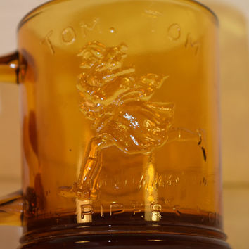 Indiana Glass Amber Humpty Dumpy Tom Tom The Piper's Son Mug Vintage Nursery Rhyme Child's Cup Tiara Exclusive Glass Mug Child Glassware