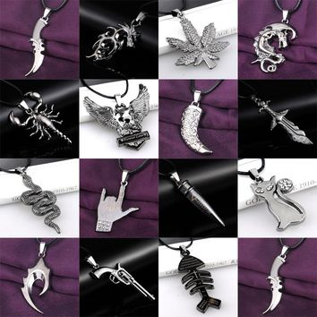 20 Styles Men Boy Stainless Steel Weapon Animal Plants Movie Pendant Necklace Leather Chain Jewelry Women Friends Choker Collar