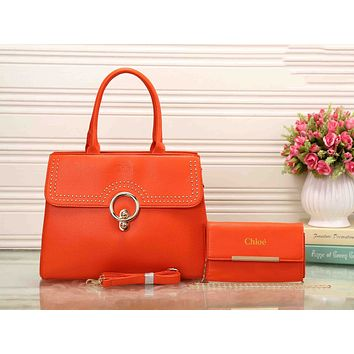 Chloe Fashion Women Shopping Bag Leather Crossbody Shoulder Bag Satchel Handbag Two Piece Orange I-XS-PJ-BB