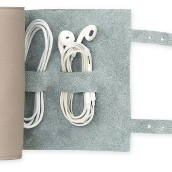 Leather Cordito Cord Wrap, Gray, Wallets