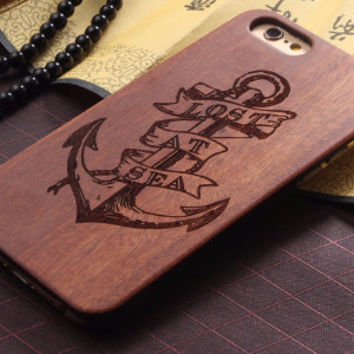 """Lost At Sea Nautical Anchor Wood Case for iPhone 6 6S 4.7"""""""