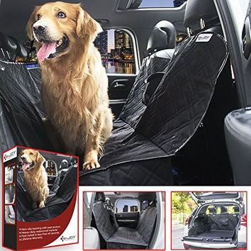 Dog Car Seat Cover, Dog Seat Covers For Cars SUVs JEEP, E-JOY Deluxe Large Size Universal Waterproof Non Slip Recliner Loveseat Or Trunk Hammock [Lifetime Warranty] - Pet Seat Cover 58*55, Black