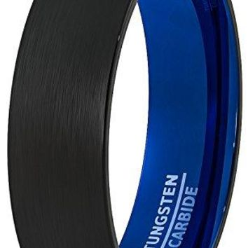 6mm Mens Wedding Band Black Brushed Inside Deep Blue Dome Comfort Fit