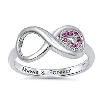 CloseoutWarehouse Cubic Zirconia Always and Forever Infinity Ring Sterling Silver Sizes 313