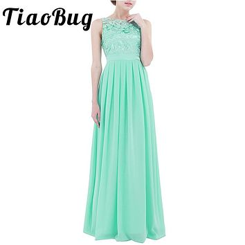 TiaoBug 2017 Women New Fashion Bridesmaid Tulle Formal Lace Dresses Gaduation Sisters Princess Maxi Dress Prom Vestido De Festa