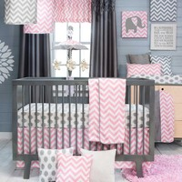 Sweet Potato Swizzle Quilt, Dot Sheet and Crib Skirt, Grey/Pink/White