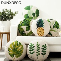 DUNXDECO Pillow Round Cushion Tropic Green Plants Pineapple Linen Cotton Sofa Decorative Pillows Home Decoration