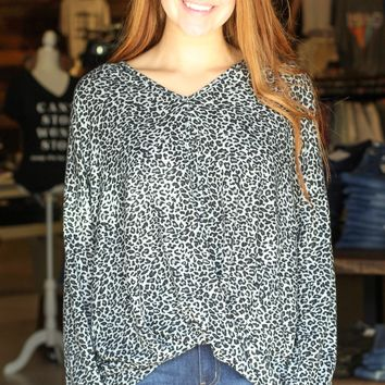 Charcoal Leopard Gathered Front Knit L/S