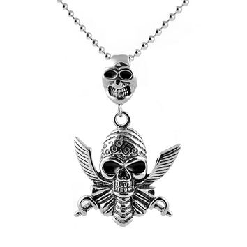 Double Skull Pendant Stainless Steel Necklace