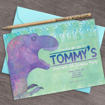 Tyrannosaurus Dinosaur Invitation Printable Dino-mite Invite Watercolor Dinosaur Birthday Party Tyrannosaurus Rex Jungle Invite Dino Party