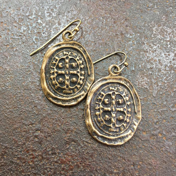 Cross Coin Knotted Vintage Rustic Bronze Dangle Earrings Spanish Coin Jewelry by Two Silver Sisters