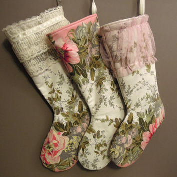 Shabby Chic Christmas Stocking, Vintage Print Flower Stocking, Christmas Stocking, Cottage chic Christmas Stocking