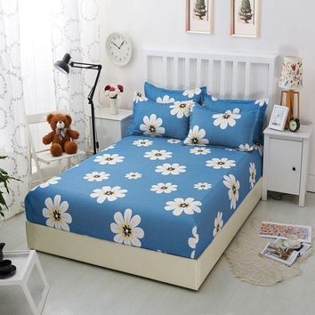 Flowers Printed 100% Polyester Fitted Bed Sheets With Elastic Band