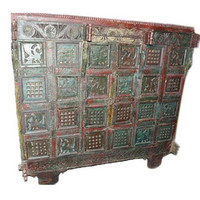 Antique Indian Sideboard Dresser Buffet Red Green Patina Shabby Chic