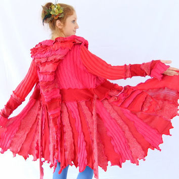 Pink Red Pixie jacket - One of a Kind - XL - READY to SHIP
