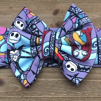 Nightmare Before Christmas Headband- Nightmare Before Christmas Bow; Nightmare Before Christmas Headwrap; Nightmare Before Christmas; Bows